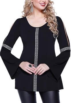 Belldini Black Geometric Contrast Slit-Sleeve Top - Women