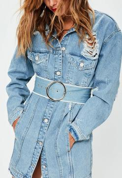Missguided Blue Denim Circle Belt