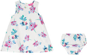 Joules Cream Floral Printed Woven Dress and Bloomers