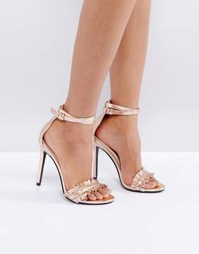 Public Desire Pheonix Rose Gold Ruffle Heeled Sandals