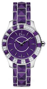 Christian Dior Christal Diamond, Purple Sapphire Crystal & Stainless Steel Bracelet Watch