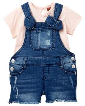 7 For All Mankind Short Sleeve Tee & Overall Set (Baby Girls)
