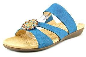 Acorn Samoset Slide Women Open Toe Leather Blue Slides Sandal.