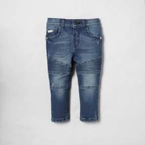 River Island Mini boys blue biker detail Sid skinny jeans