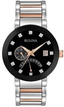 Bulova Diamond 98D129 Black/Two-Tone Analog Quartz Men's Watch