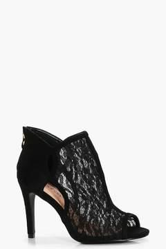 boohoo Lottie Peeptoe Lace Shoe Boot