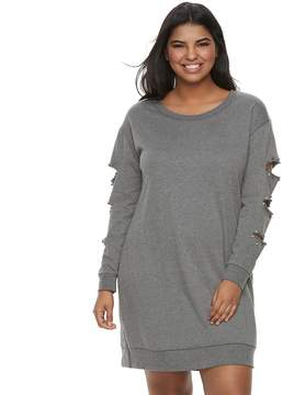 Almost Famous Juniors' Plus Size Simulated Pearl Cutout Sweatshirt Dress
