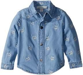 Stella McCartney Melvil Embroidered Skull Chambray Shirt Boy's Clothing