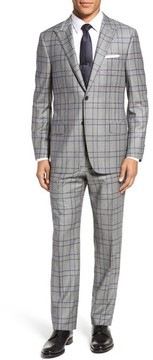Hickey Freeman Men's Classic B Fit Plaid Wool & Cashmere Traveler Suit