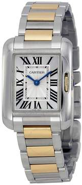 Cartier Tank Anglaise Silver Dial Stainless Steel and 18kt Yellow Gold Ladies Watch