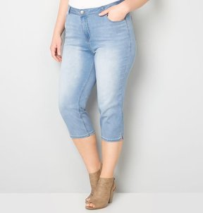 Avenue Butter Denim Capri with Side Slit (Light Wash) 28-32