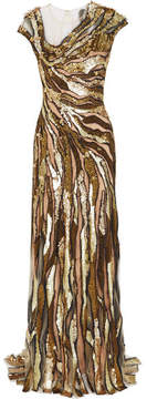 Jenny Packham Embellished Tulle Gown - Gold