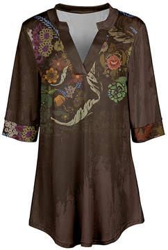 Azalea Brown & Beige Floral V-Neck Tunic - Women & Plus