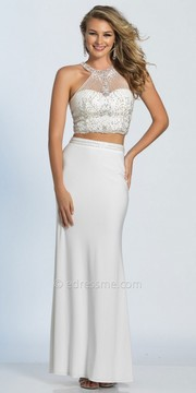 Dave and Johnny Two Piece Illusion Halter Rhinestone Prom Dress