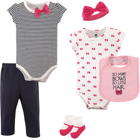 Hudson Baby Pink & Black Stripe 'So Many Bows' Bodysuit Set - Infant