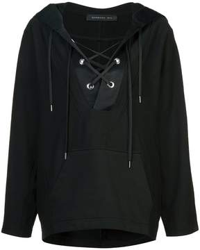Barbara Bui lace up front hoodie