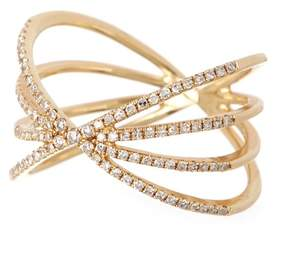 Ef Collection 14K Yellow Gold Pave Diamond Sunburst Ring - Size 5 - 0.30 ctw