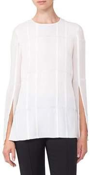 Akris Round-Neck Pleated Embellished Chiffon Tunic Blouse