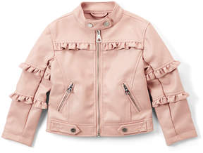 Urban Republic Rose Smoke Ruffle-Trim Faux Leather Jacket - Infant, Toddler & Girls