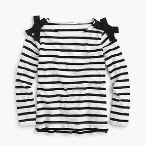 J.Crew Girls' striped long-sleeve T-shirt with bows