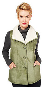 Denim & Co. As Is Faux Suede Vest with Wide Collar and Sherpa Lining