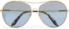 Victoria Beckham Loop Round Gold-tone Sunglasses