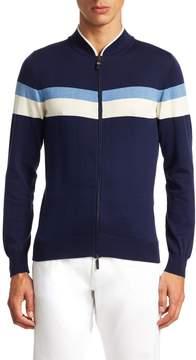 Luciano Barbera Men's Striped Full Zip Sweater