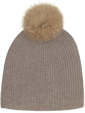 White + Warren Fur Pom Pom Rib Beanie