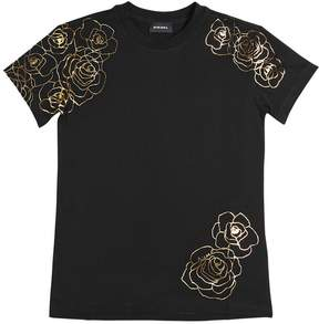 Diesel Roses Printed Cotton Jersey T-Shirt