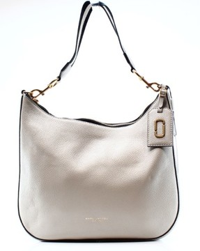 Marc Jacobs Gray Leather Gotham City Hobo Zip Shoulder Bag Purse - GRAYS - STYLE