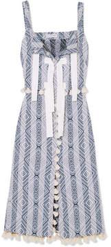 Altuzarra Villette Grosgrain-trimmed Tasseled Cotton-blend Jacquard Midi Dress - Sky blue