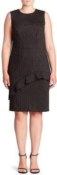 ABS by Allen Schwartz Women's Ruffle Pinstripe Sheath Dress - Grey, Size 1x (14-16)