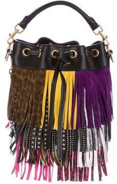 Saint Laurent Emmanuelle Fringe Bucket Bag - BLACK - STYLE