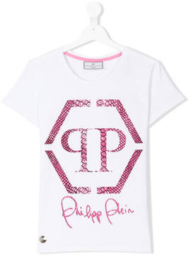 Philipp Plein Junior Teen embellished logo T-shirt