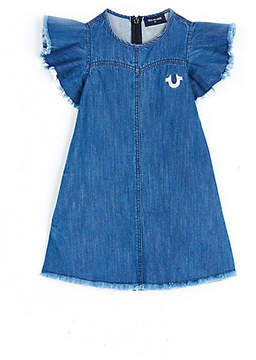 True Religion RAW EDGE FLUTTER SLEEVE TODDLER/LITTLE KIDS DRESS