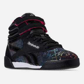Reebok Girls' Grade School Freestyle Hi Rainbow Casual Shoes