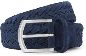 Andersons Anderson's 3.5cm Navy Woven Suede Belt