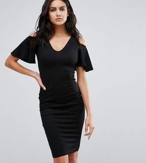Club L Midi Dress with Cold Shoulder Frill Detail