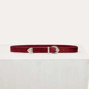 Maje Scalloped buckle leather belt