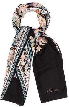 Roberto Cavalli Silk Floral Print Scarf w/ Tags