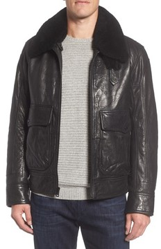 Andrew Marc Men's 3614 Leather Jacket With Genuine Lamb Shearling Collar