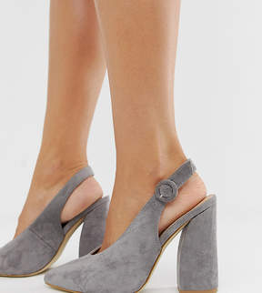 RAID Wide Fit Brook grey block heeled shoes