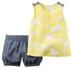 Carter's Baby Clothing Outfit Girls 2-Piece Top & Bubble Short Set Yellow NB