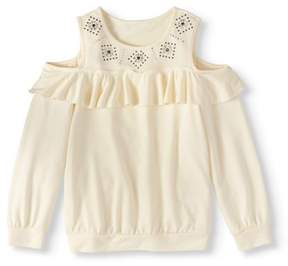 Speechless Girls' 7-16 Studded Cold Shoulder French Terry Pullover Sweatshirt