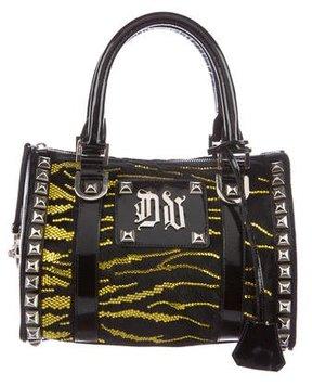 Versace Crystal-Embellished Ponyhair Handle Bag