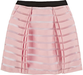 Milly SHADOW-STRIPED PLEATED ORGANZA SKIRT