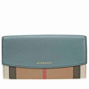 Burberry House Check and Leather Continental Wallet - Smokey Green - ONE COLOR - STYLE