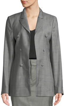 RtA Blare Notched-Lapel Double-Breasted Check Virgin Wool Blazer