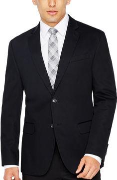 Jf J.Ferrar JF True Black Cotton Sport Coat Slim