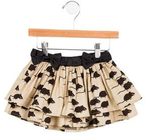 Mini Rodini Girls' Satin-Trimmed Printed Skirt w/ Tags